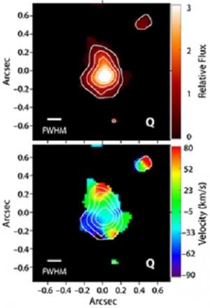 Снимок части галактики размером 16300 световых лет, сверху - относительная яркости. Снизу красным цветом обозначен газ, удаляющийся от нас (относительно общего движения), голубым - приближающийся (phys.org)
