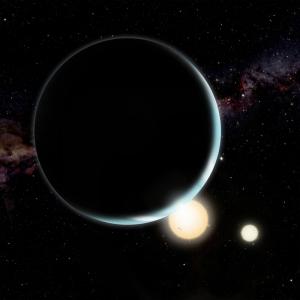 Рисунок возможной планеты около двух звезд (bristol.ac.uk)