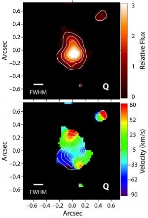Яркость (сверху) и радиальная скорость (снизу) областей галактики (space.com)
