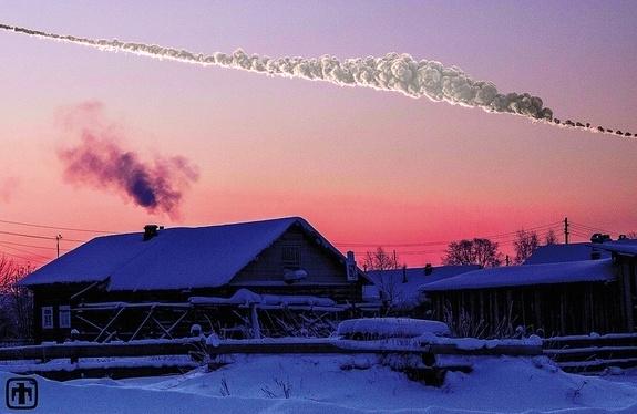 Путь метеора в небе над Челябинском (space.com)