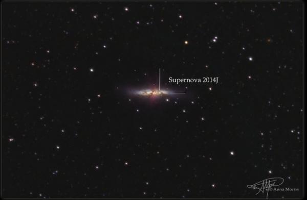 Галактика Месье 82 и местоположение взрыва в ней (phys.org)