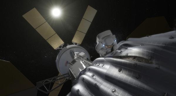 Астронавт изучает прирученный астероид (nasa.gov)