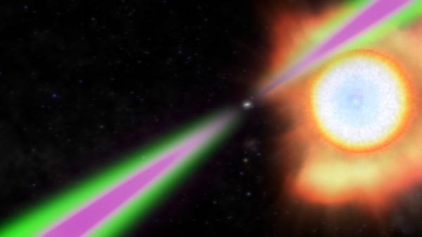 Рисунок пульсара с небольшой, но все же гигантской по сравнению с ним звезды (phys.org)
