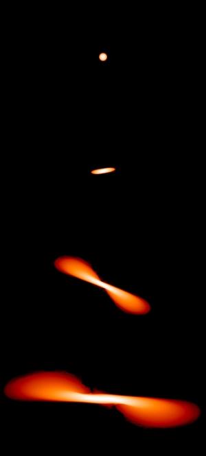 Растяжение звезды при приближении к черной дыре (phys.org)