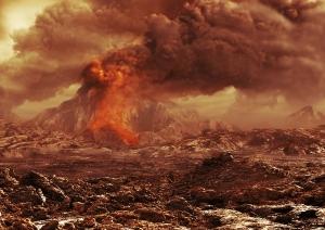 Рисунок активного вулкана на Венере (space.com)
