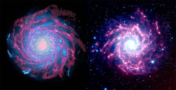 Слева - изображение смоделированной галактики, справа - спиральная галактика М74 (uzh.ch)