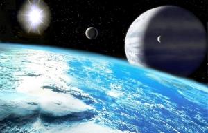 Луна планетыИпсилон Андромеды d, газового гиганта, имеющая на поверхности океан (wikipedia.org)