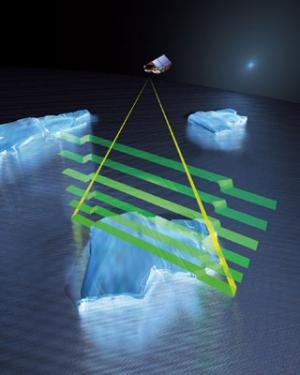 Аппарат способен измерять даже высоту выступающих из воды льдов (esa.int)