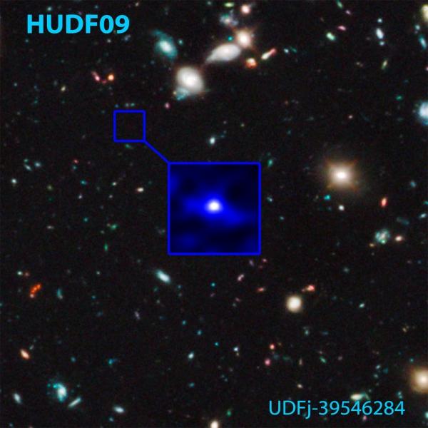 Галактика, имеющая возраст около 480 миллионов лет и область охвата Хаббла при исследовании глубоко во Вселенной (space.com)
