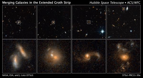 Четыре снимка Хаббла, показывающие сталкивающиеся галактики на разных этапах смешения (nasa.gov)