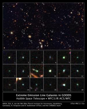 18 карликовых галактик молодой Вселенной (nasa.gov)