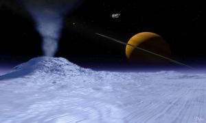Гейзеры на Энцеладе (space.com)