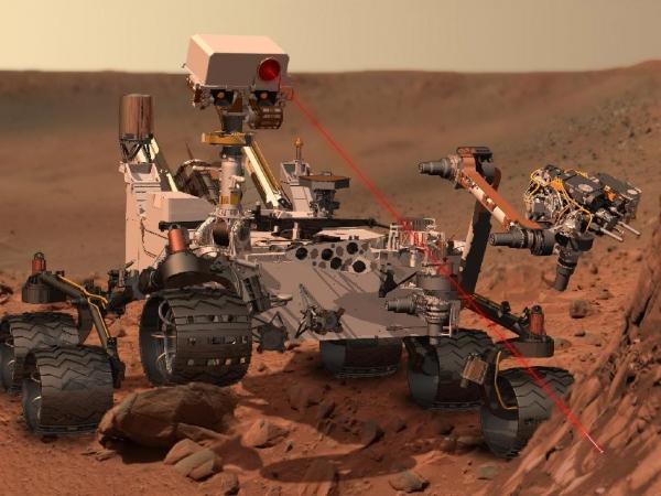 Curiosity использует лазерный луч для анализа химического состава камня спектрометром (nasa.gov)