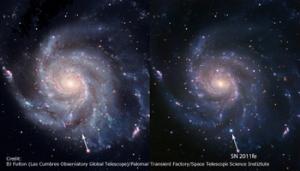 Галактика вертушка до и после взрыва (caltech.edu)
