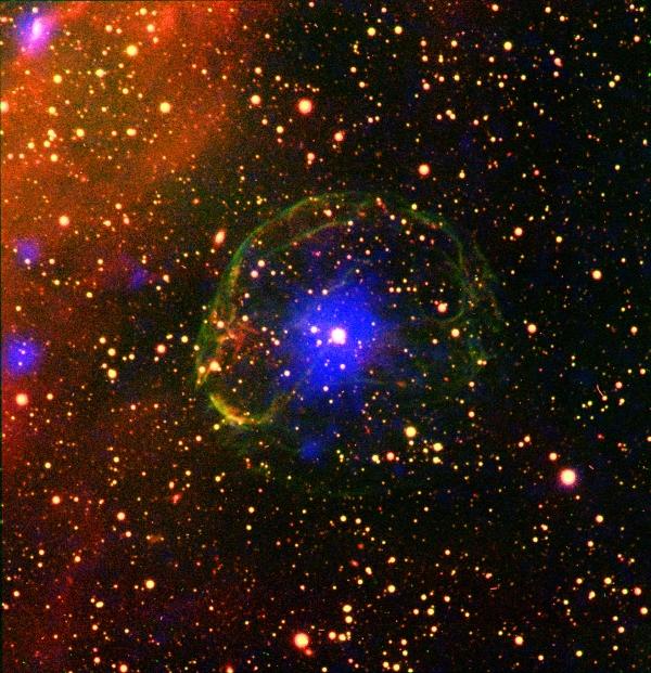 Пульсар SXP 1062 внутри оболочки газа, образовавшейся в результате взрыва сверхновой (space.com)